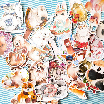 Animal sticker, Panda sticker, Otter sticker, Sloth sticker, Kangaroo sticker, Rabbit sticker, Cat sticker, Penguin sticker, FK25