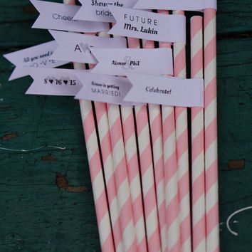 100 Bridal Shower Paper Straws with Custom Flags / Personalized Straws / Bridal Shower Straws / Party Straws / Custom Straws / Drink Flags