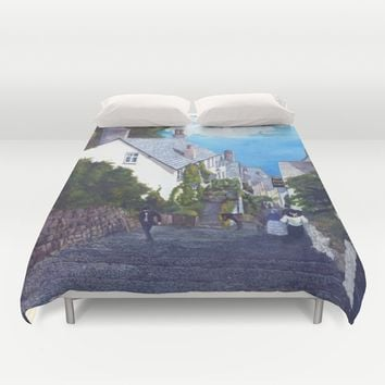 Season of the Village - Down A Cobbled Street Duvet Cover by michael jon