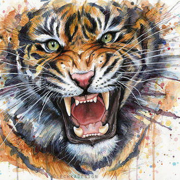 Tiger Watercolor Art Painting Giclee Print, Jungle Animal Illustration, Wild Cat