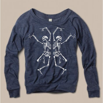Womens Halloween Dancing SKELETON Screen Print Top Long Sleeve Pullover Optional Glow in Dark Alternative Apparel S M L XL more Colors