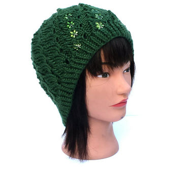 Knit, forest green hat, stretchy, warm beanie, beautiful, unique, winter accessory.