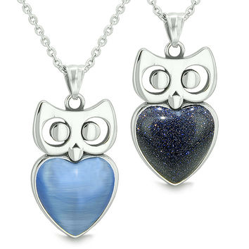 Amulets Owl Cute Hearts Love Couples Set Star Blue Cats Eye Blue Goldstone Pendant Necklaces
