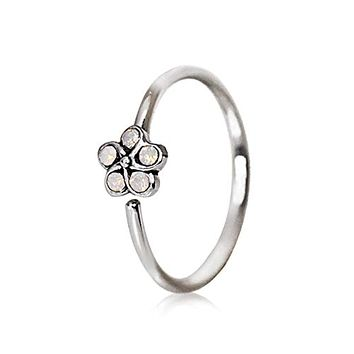 316L Stainless Steel Synthetic White Opal Flower WildKlass Cartilage Earring/Nose Hoop Ring