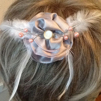 Silver and Pink Hair Clip, Satin Bridal Flower, Elegant Butterfly Hair Piece
