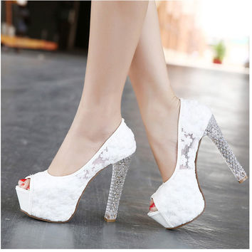 Womens Wedding Shoes 2016 High Heels Ladies Peep Toe Platform Pu 114991bc1f