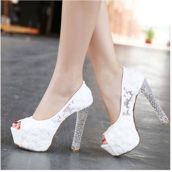 Womens Wedding Shoes 2016 High Heels Ladies Peep Toe Platform Pu 9141323ef2d9