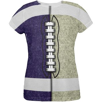Fantasy Football Team Navy and Gold All Over Womens T Shirt