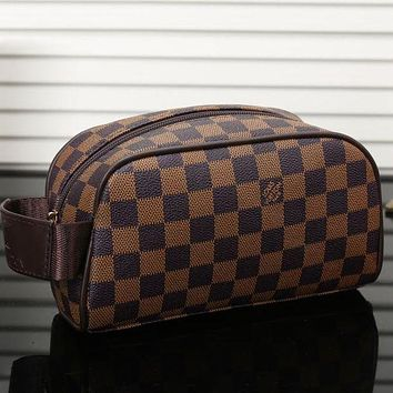 LV Louis Vuitton Women's Fashion Shopping Cosmetic Bag F/A Brown Plaid