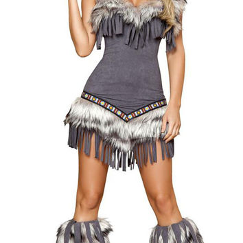 Sexy Faux Fur And Fringe Indian Girl Halloween Costume