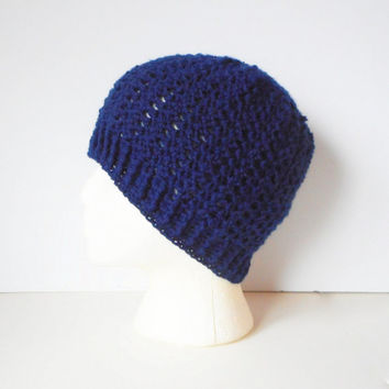 Wool Blend Skullcap Beanie in Navy, ready to ship.