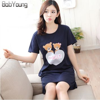 BabYoung 2017 Summer Women Nightgowns Cotton Short Sleeve Sleepshirts Cartoon Printing O-neck Lingerie Sleeping Dress Nightwear