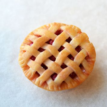 Miniature Lattice Cherry Pie Polymer Clay Food Magnet