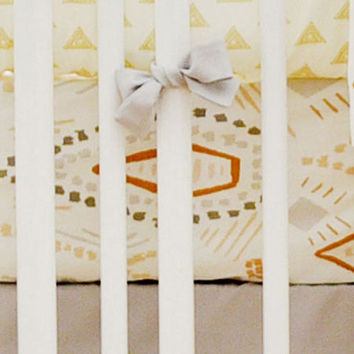 Gold & Gray Tribal Crib Sheet