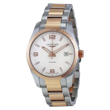 Longines Conquest Classic Automatic Silver Dial Stainless Steel and 18k Rose