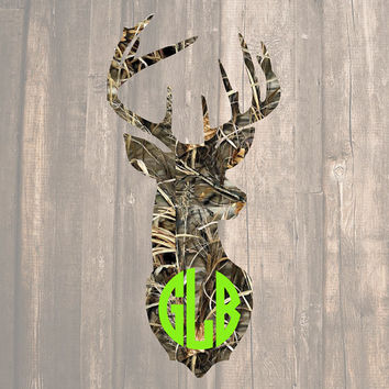 Camo Deer Head Monogram | Camo Deer Monogram | Camo Deer Decal | Hunting Decal | Country Decal