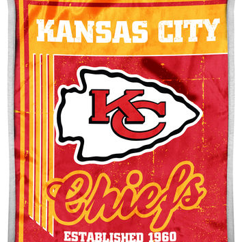 "Chiefs National Football League 50""""x60"""" Mink with Sherpa Throw, """"Old School"""" series"