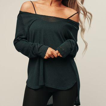 Cutie Open Knit Sweatshirt (Teal)
