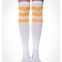 White With Neon Orange Athletic Stripe Knee High Socks - Spencer's