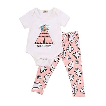 Newborn Infant Toddler Newborn Kids Baby Girl Boy Outfits Clothes Romper Tops Pants Legging 2PCS Set 0-18M