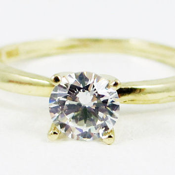 14k Yellow Gold White CZ Solitaire Ring