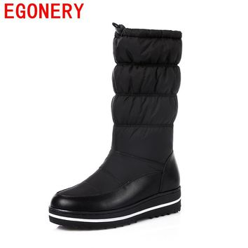 EGONERY snow boots women platform 4 cm heel shoes 2017 winter new come round toe genuine leather upper shoes woman mid calf boot