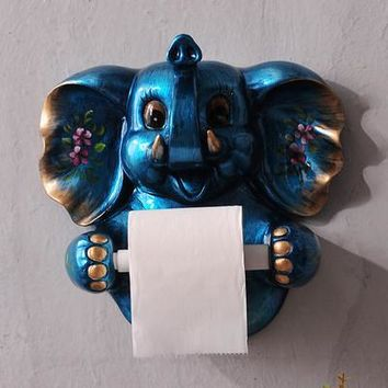 3D Paper towel rack toilet roll paper holder toilet paper box shelves bathroom wall hanging resin Elephant  paper towel frame
