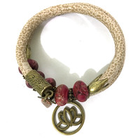Leather and Jasper Wrap Bracelet - Beige, Fuchsia Jasper and Antique Bronze - Leather and Fuchsia Terra Jasper Beads - One Size Fits All - Wrappy Collection - Clay Space