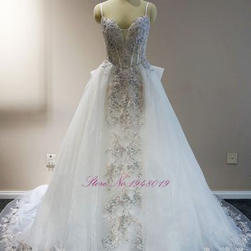 Julia Kui Floral Print 2 in 1 A Line Princess Wedding Dress Detachable Train