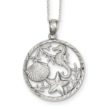 Sterling Silver Seahorse, Starfish and Shell Pendant QG3379-18