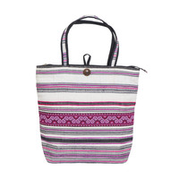 Stripe Embroidered Tote Bag