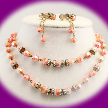 Vintage Necklace Crystal Necklace and Earrings Crystal Bead Necklace and Earrings Pink and Gold Beads ,Prom Necklace , Mothers Gift