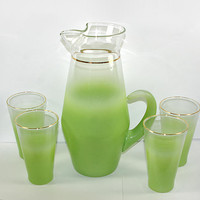 West Virginia Glass Lime Green Blendo Pitcher and 4 Tumbler Glasses MCM Mid Century Modern Green Glass Pitcher Lemonade Set 50s Kitchen