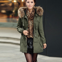 Momens Faux Fur Long Hooded Coat