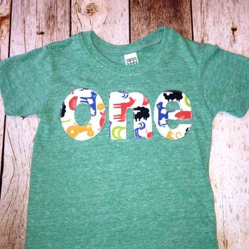 Eco green Tractor barn Birthday Shirt farm Boys 1st Birthday one first Tractors and Animals Cow Sheep pig yellow red blue birthday