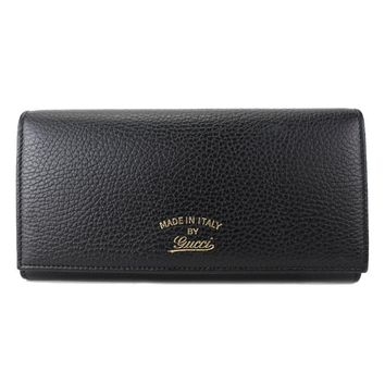 Gucci Women's Swing Black Continental Dollar Calf Flap Leather Wallet 354498