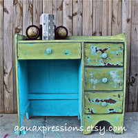 Aqua BlueTurquoise Vintage Desk/ Green /Bedroom Furniture/ TV Stand/ Storage/ Distressed/ Rustic