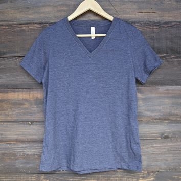 women's relaxed jersey short sleeve v-neck tee - heather navy