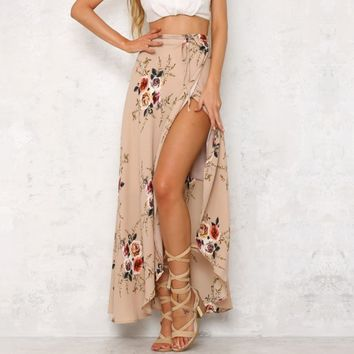 Spring and summer new women's fashion holiday slit print long skirt