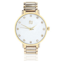 River Island Womens Gold tone simple face watch