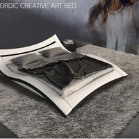 New Nordic Creative  Art  Leather Bed