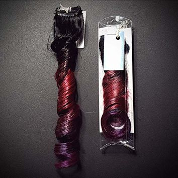 "18"" #1b Natural Black Blood Berry Red and Purple Ombre Clip In Remy Human Hair Extensions"