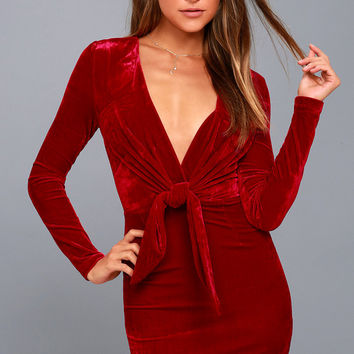 Midnight Hour Red Velvet Knotted Bodycon Dress