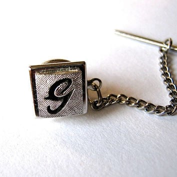 Initial G Tie Pin, Fathers Day Gift Vintage Tie Tack, Swank Tie Tack Lapel Pin Monogram Tie Pin, Groom Jewelry, Mens Jewelry, Formal Jewelry