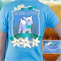 Country Life Outfitters Southern Attitude Lamb Sheep Little Cute Little Bad Girlie Bright T Shirt