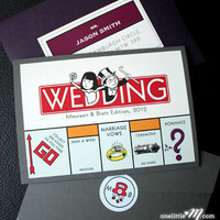 Pocket Monopoly - Monopoly Board Game Themed Wedding Invitation SAMPLE