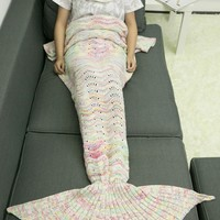 A Set of Comfortable Knitted Sofa Mermaid Blanket and Neckerchief
