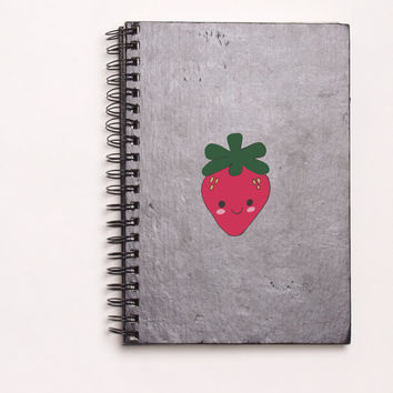 "Strawberry Kawaii Die Cut Sticker // Cute Japanese // Journal & Tablet Medium Size // 5"" // Perfect For Indoor, Outdoor, Laptop, Car"