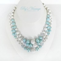 1960's Pastel Blue And White Lucite Bead Necklace, Triple Strand Vintage Beaded Necklace/Choker