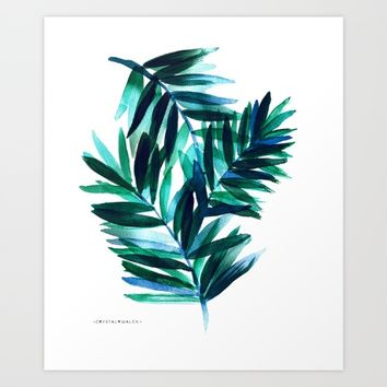 Palm Leaves - Teal Ombre Art Print by CRYSTAL WALEN